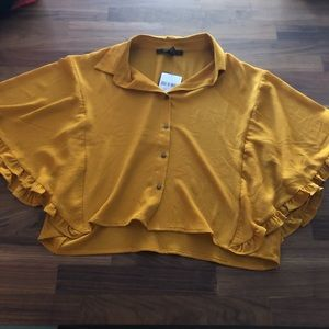 Yellow, and also in black, draped sleeved top NEW
